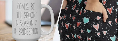 to the left: a bridgerton themed mug, to the right: heart-covered pajama pants
