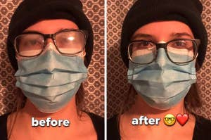 before and after image with glasses fog and without