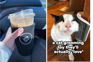 iced coffee and cat grooming toy