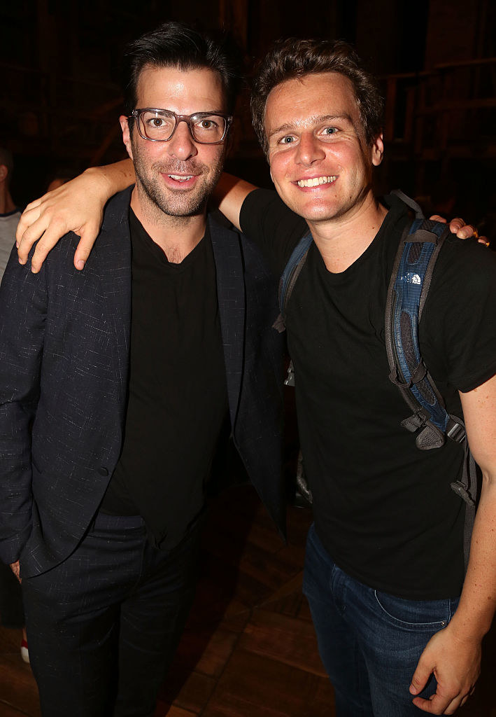 "Quinto visiting Groff backstage at ""Hamilton"" in 2015"