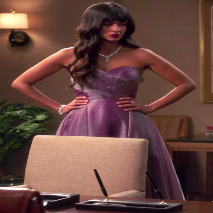Tahani wearing a beautiful gown