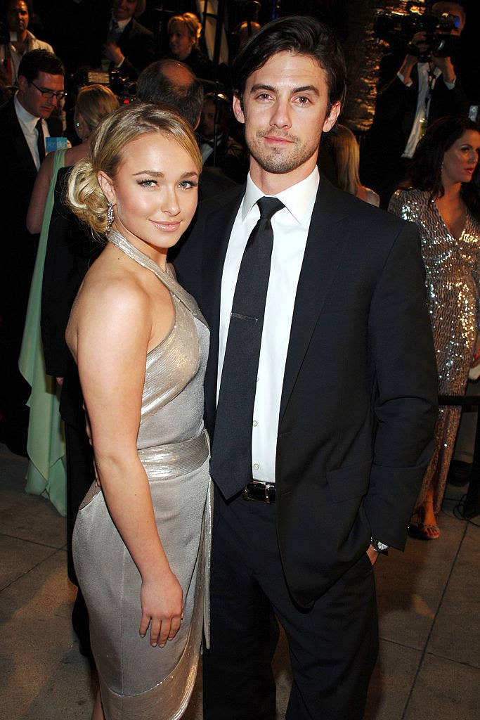 Milo Ventimiglia and Hayden Panettiere at the Vanity Fair Oscar Party in 2007