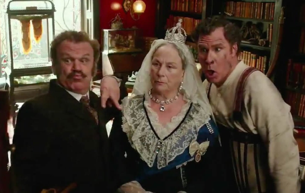 "Will Ferrel and John C Reilly shocked in a scene in the Queen in ""Holmes & Watson"""