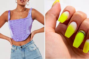 a purple corset top on the left and highlighter yellow nails on the right