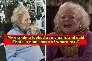 An old lady drinking a martini at the gym and Betty White laughing
