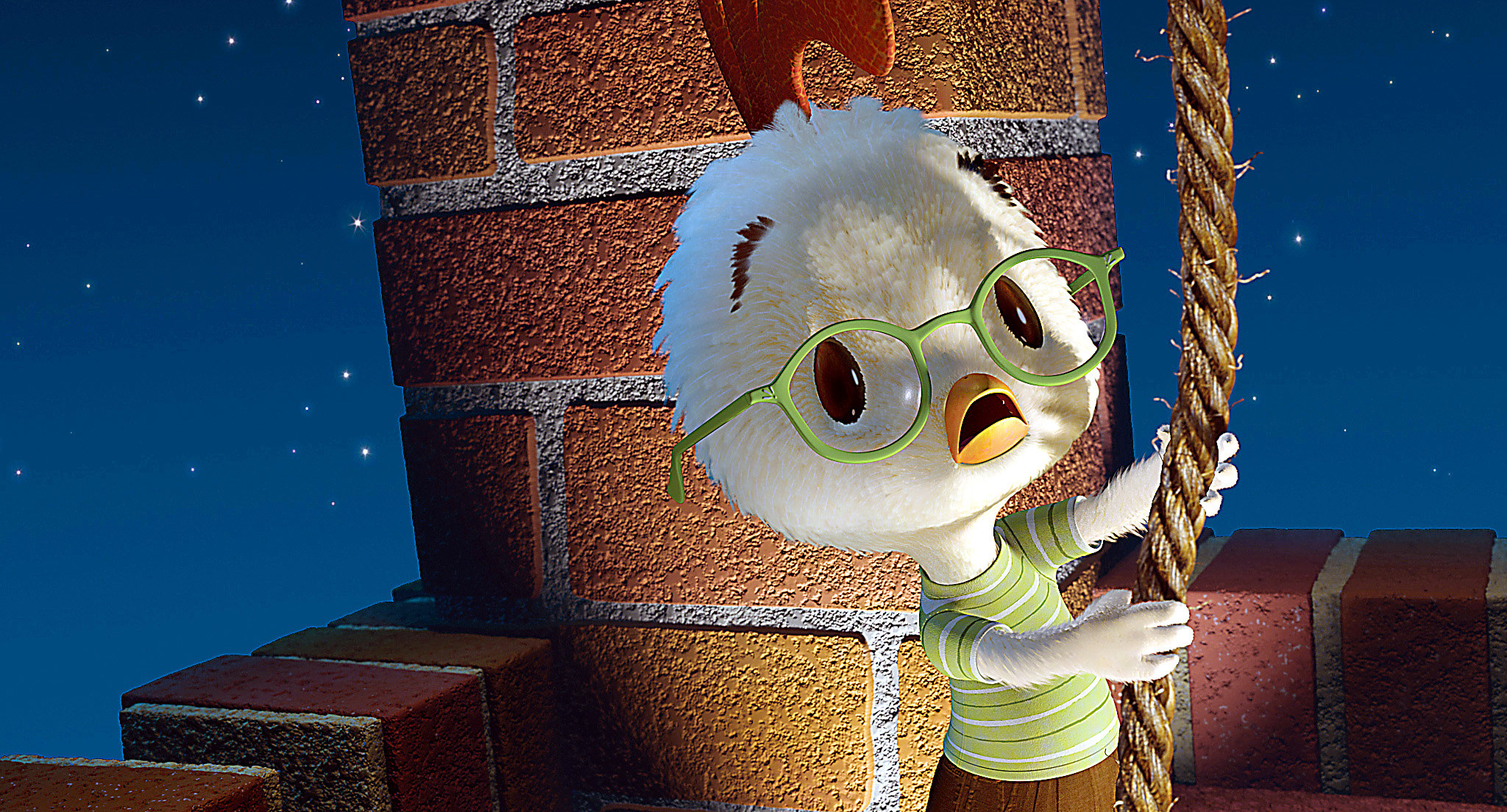 Chicken Little holding onto a rope