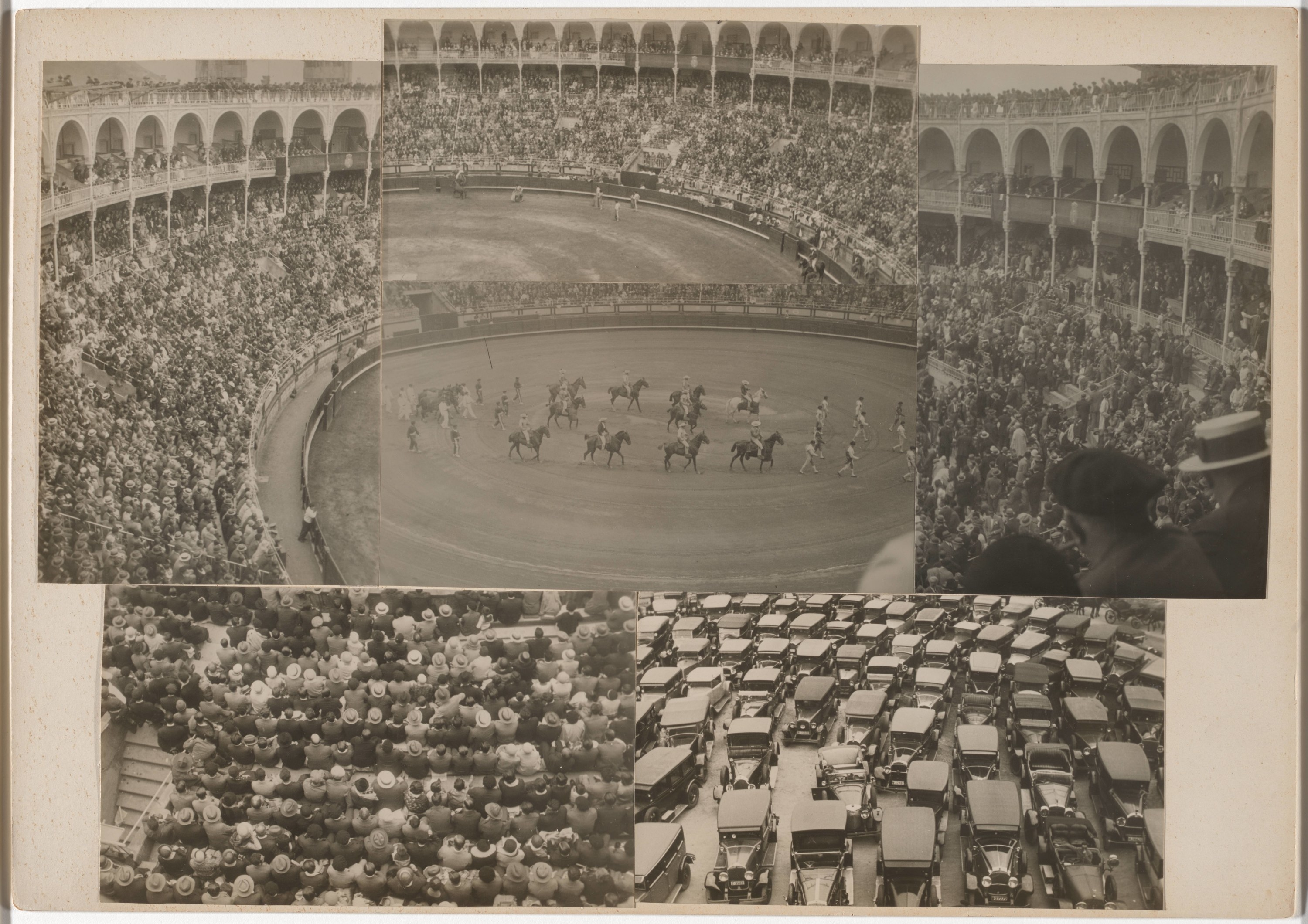 A collage of five photos which show people in the stands, a bull fight, horses and cars