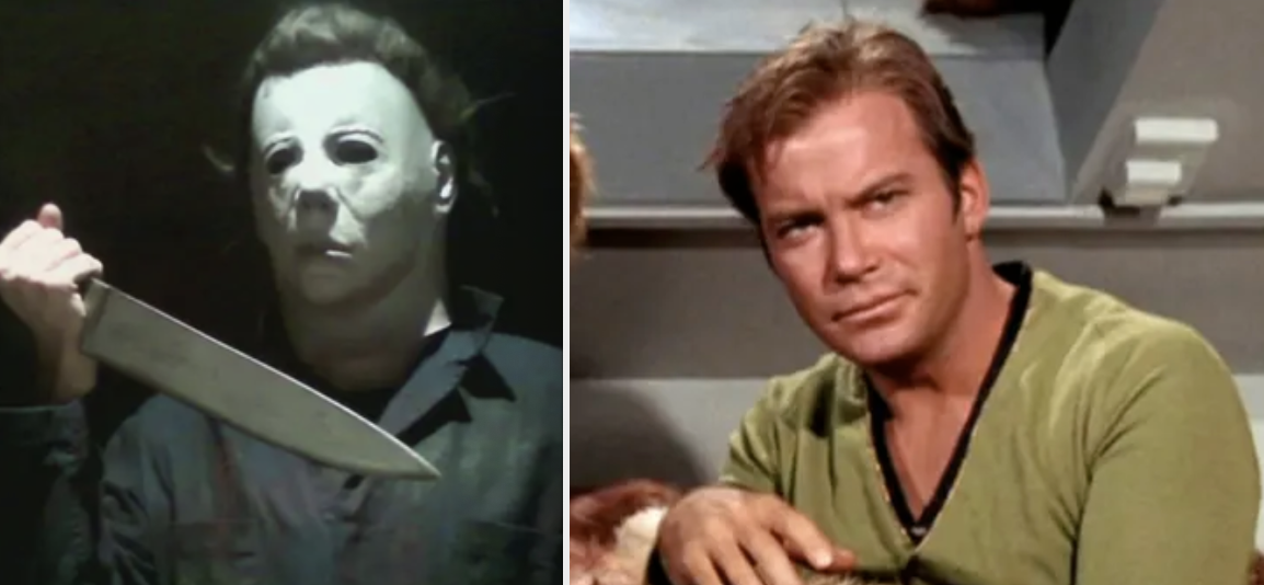 Side-by-sides of Michael Meyers and Captain Kirk