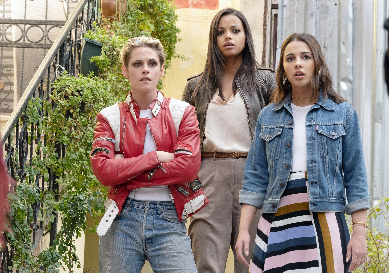 """Kristen Stewart, Ella Balinska, and Naomi Scott in """"Charlie's Angels"""""""