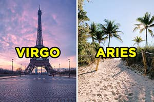 "On the left, the Eiffel Tower at sunset labeled ""Virgo,"" and on the right, a sunny day on a sandy beach with palm trees all around labeled ""Aries"""