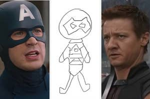 Captain America is on the left with a drawing in the center and Hawkeye on the right