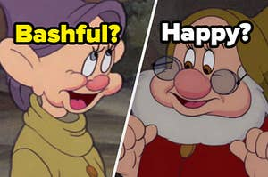 """A dwarf is on the left labeled, """"Bashful?"""" with another on the right labeled, """"Happy?"""""""