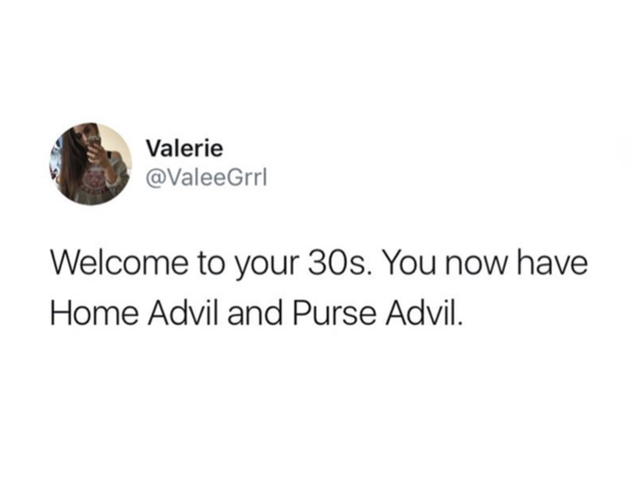tweet about having purse and home advil