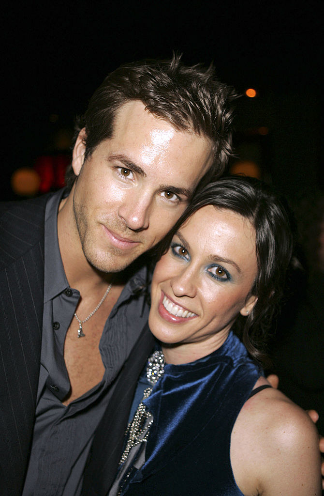 "Ryan Reynolds and Alanis Morissette at the ""Blade Trinity"" movie premiere in 2004"