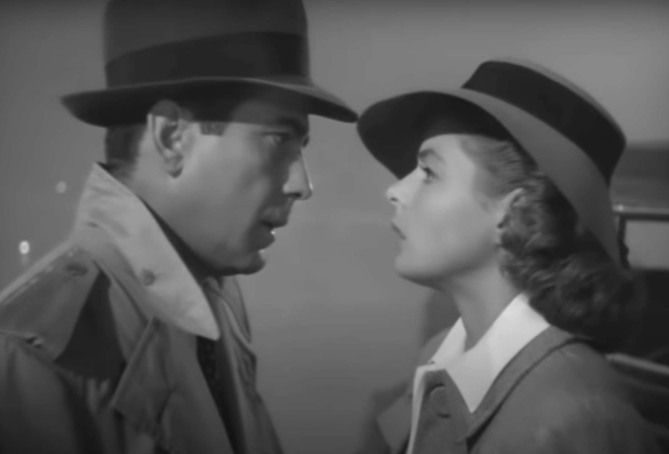 "Humphrey Bogart and Ingrid Bergman at the end of ""Casablanca"""