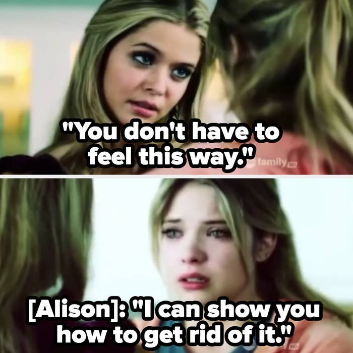 Alison tells Hanna she knows a way to help her feel better, leading to her becoming bulimic