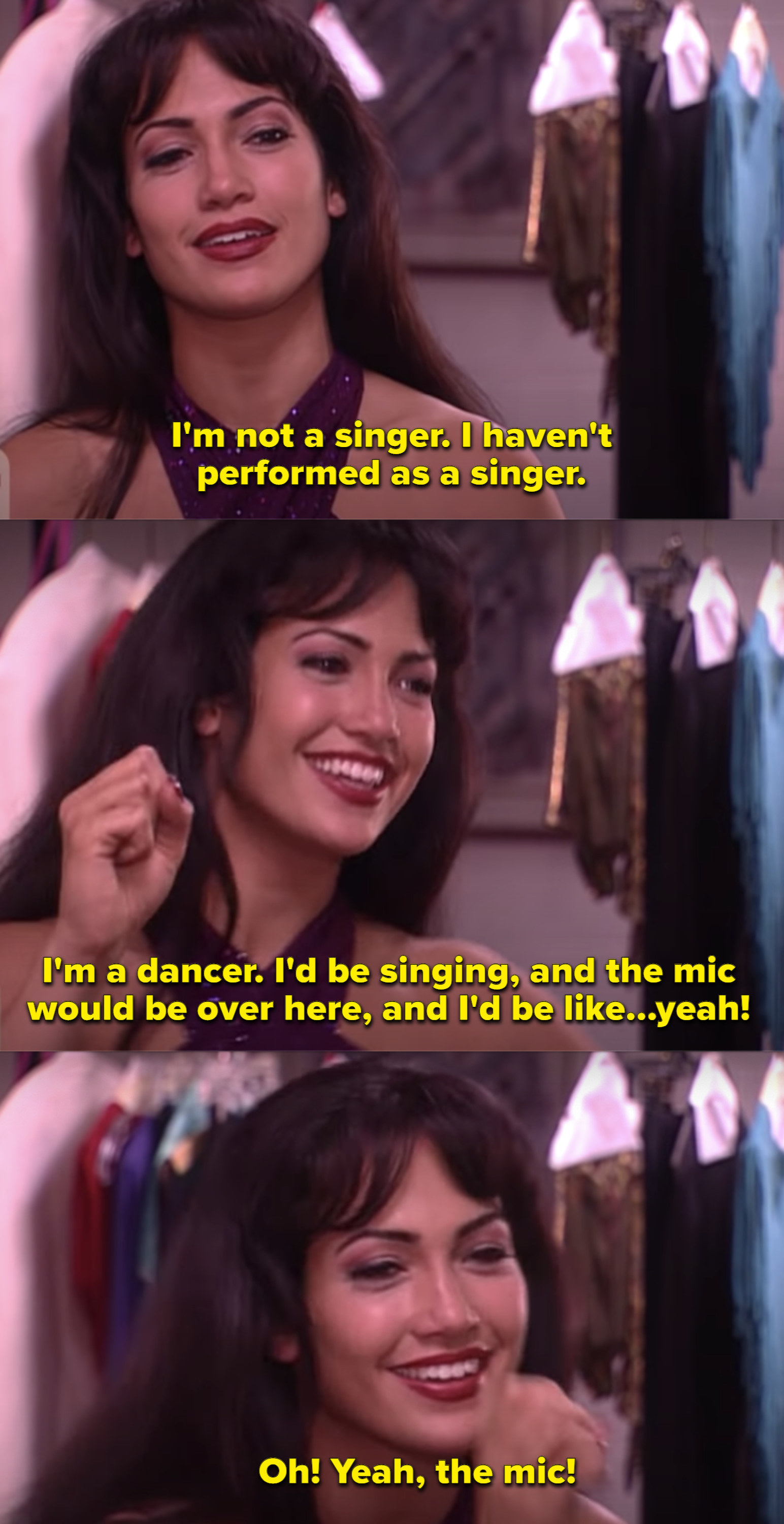 Jennifer Lopez as Selena in her dressing room