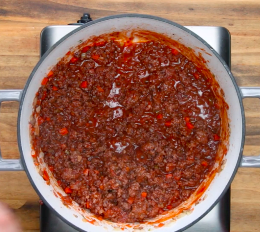Meat sauce in a pot.
