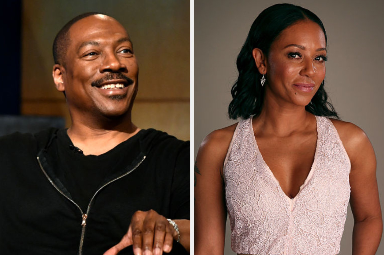 Eddie Murphy speaks onstage during the LA Tastemaker event for Comedians in Cars, 2019; Mel B. posing for a portrait for NBC in 2015