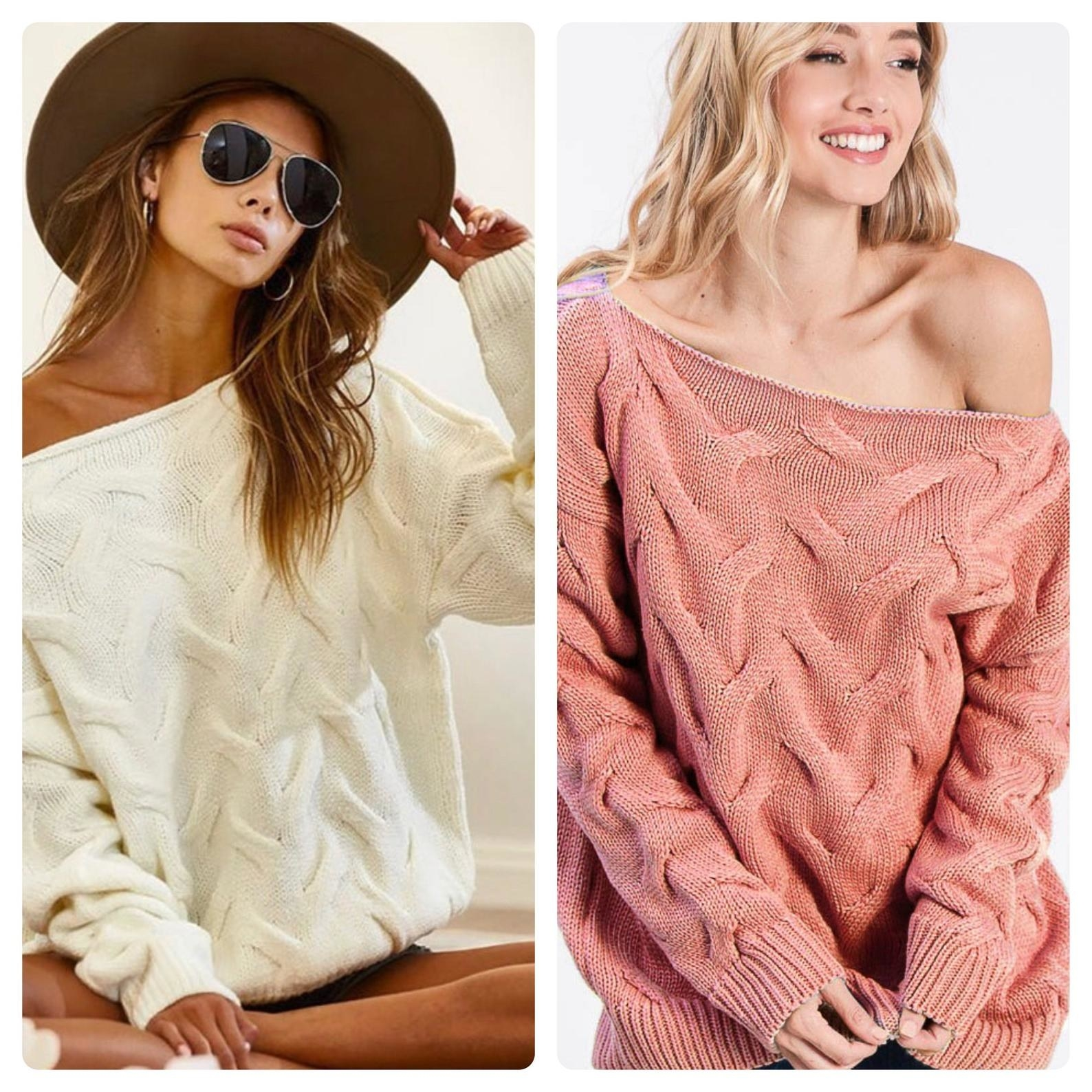 models wearing the sweaters in cream and dusty pink