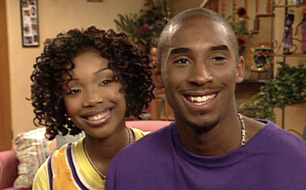 "Brandy and Kobe Bryant on the set of ""Moesha"" in the 1990s"