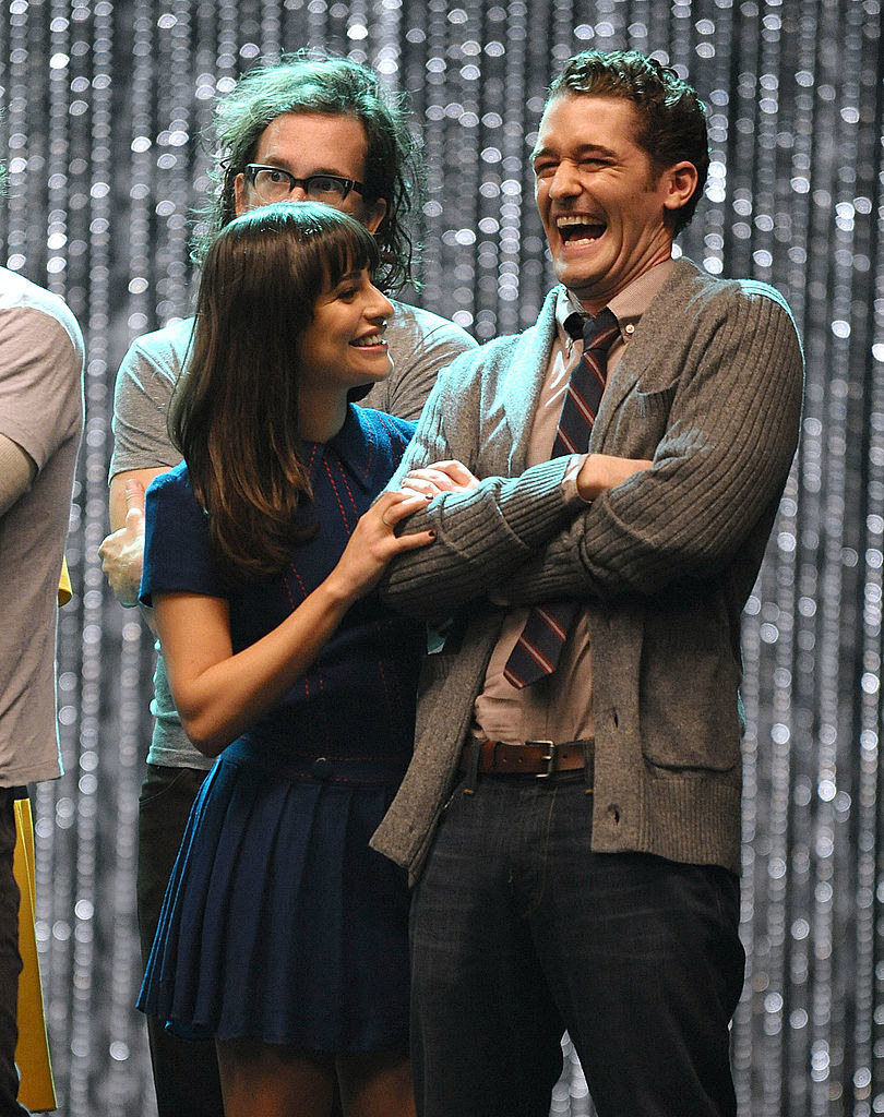"Lea Michele and Matthew Morrison at the ""Glee"" 300th musical performance in 2011"