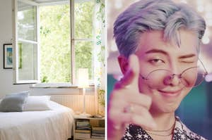On the left, a sunny bedroom with an open window and a bed, and on the right, RM from BTS winking in the