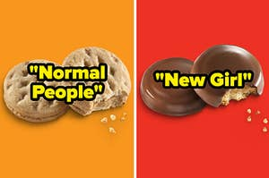 """Do-si-dos/Peanut Butter Sandwich labeled """"Normal People"""" and Peanut Butter Patties/Tagalongs labeled """"New Girl"""""""
