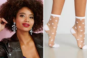 to the left: a model wearing black and white earrings, to the right: a model wearing sheer socks