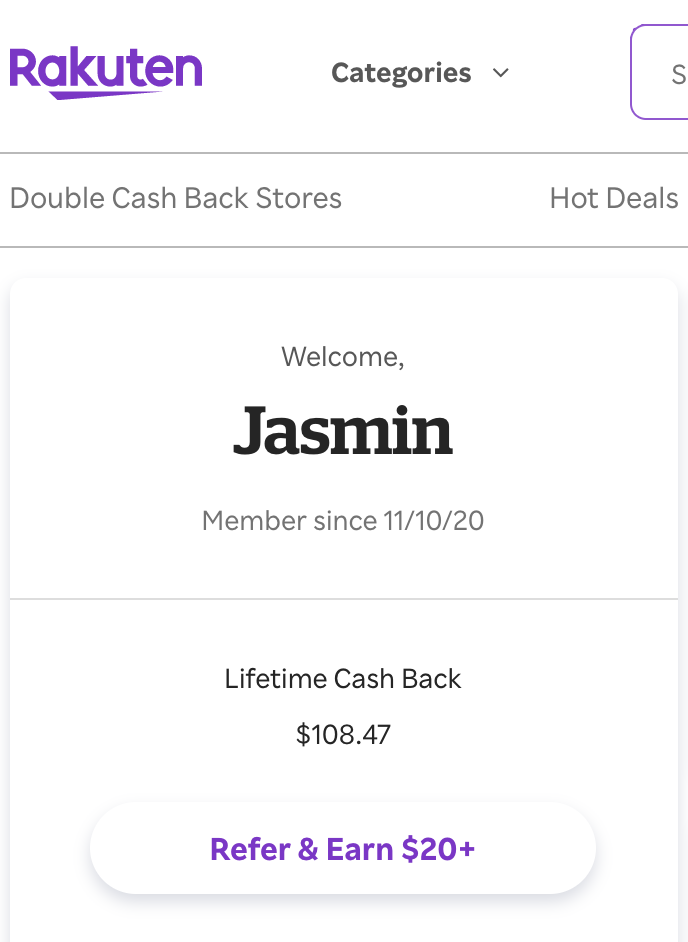 Screenshot of the author's Rakuten account showing lifetime cash back of $108.47