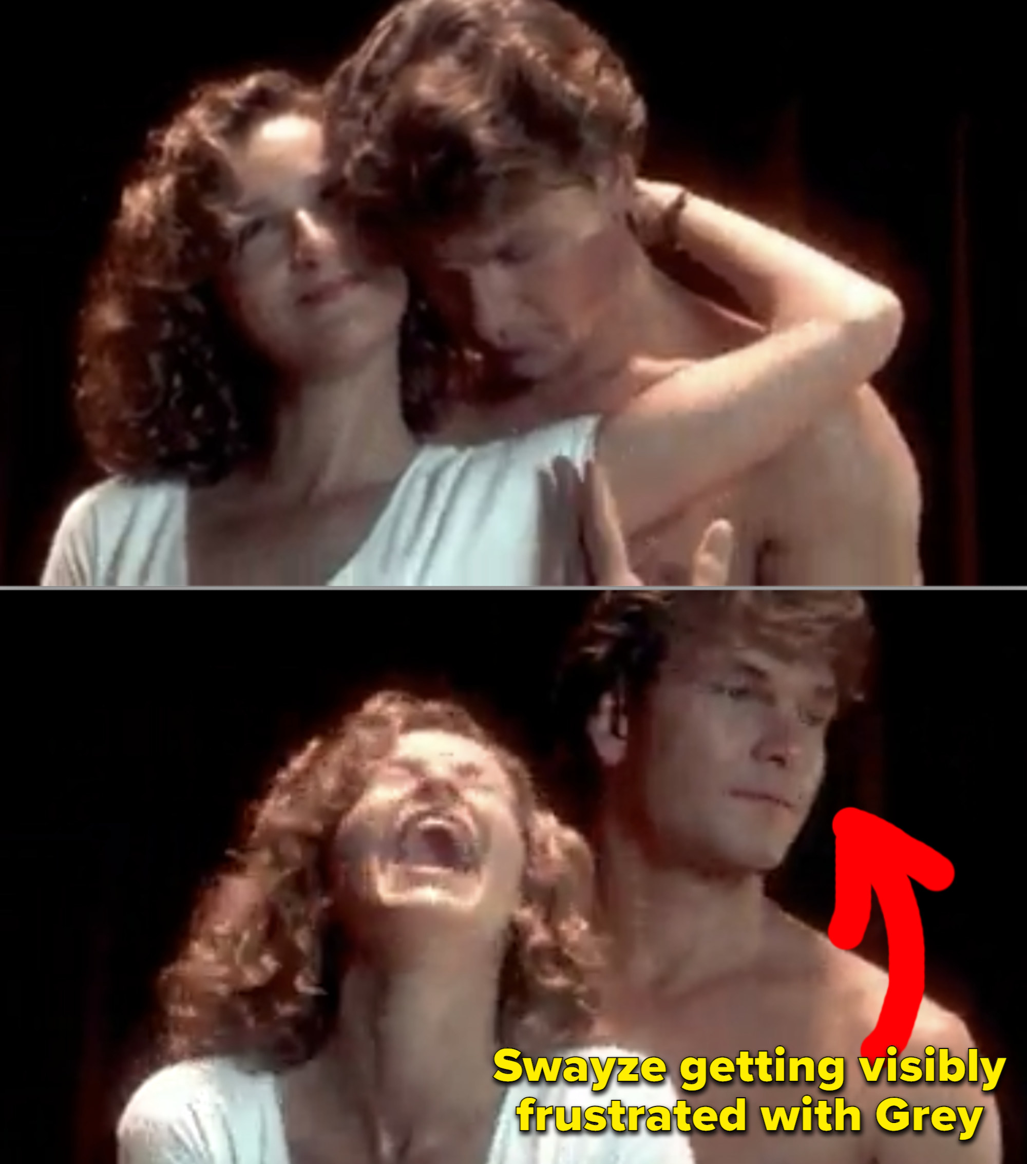 Patrick Swayze getting frustrated with Jennifer Grey during a scene