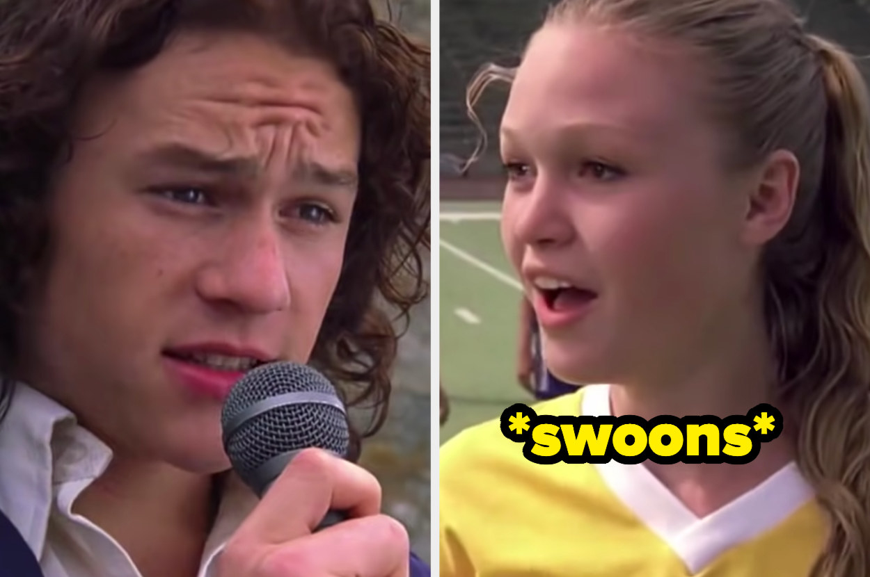 Patrick singing into a mic and Kat in a soccer uniform gasping