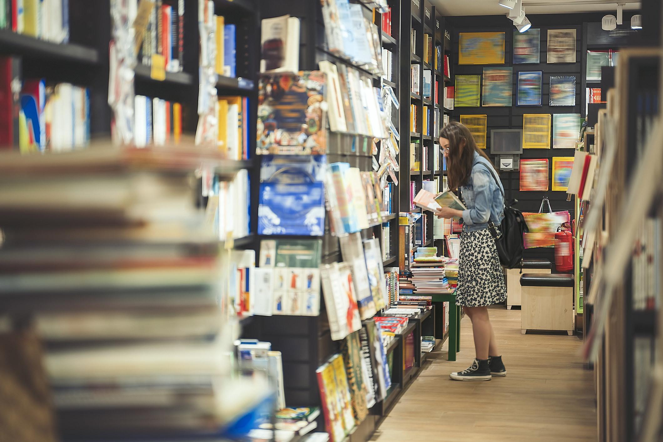 Person in a bookstore
