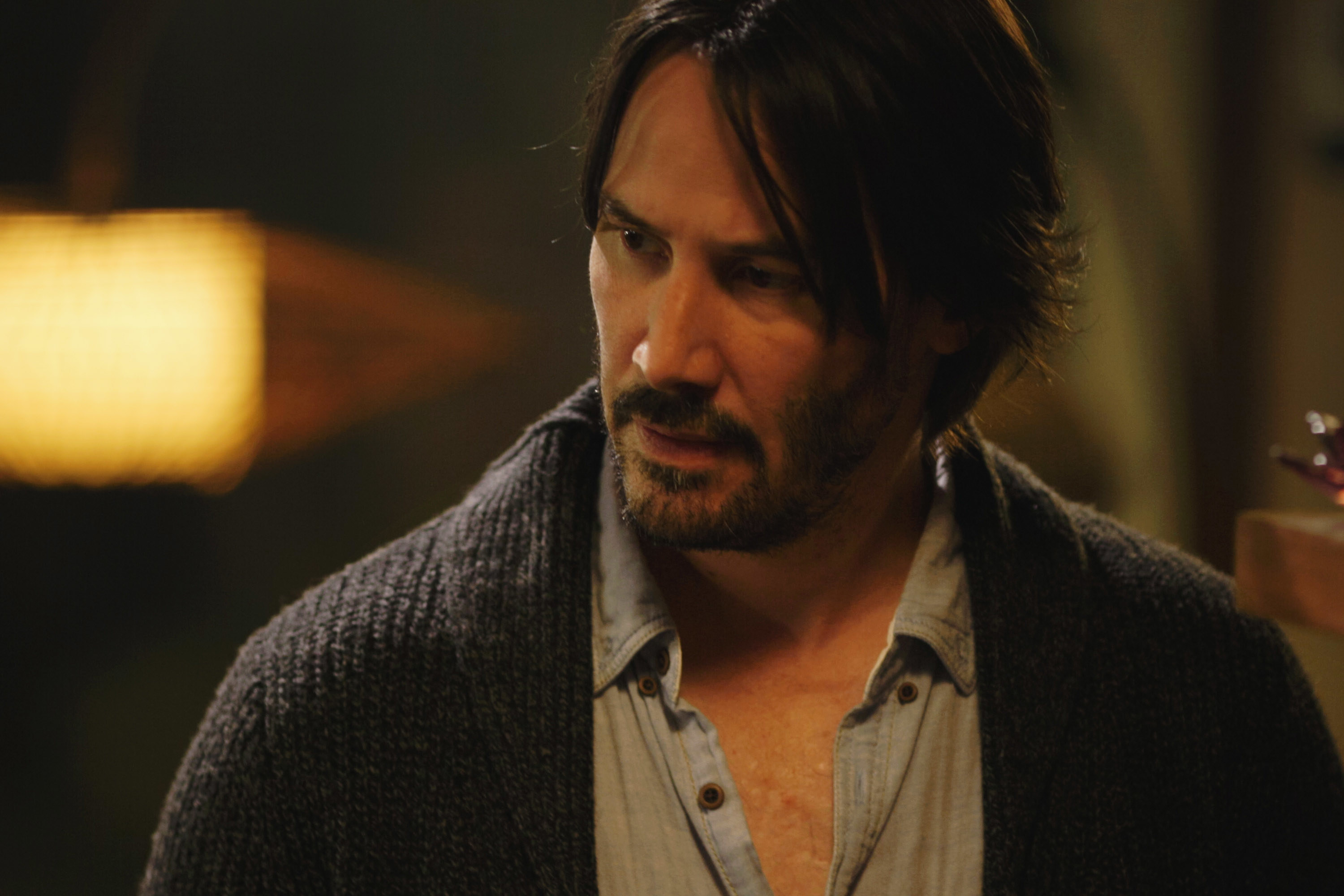 "Keanu Reeves looks confused during a scene in ""Knock Knock"""