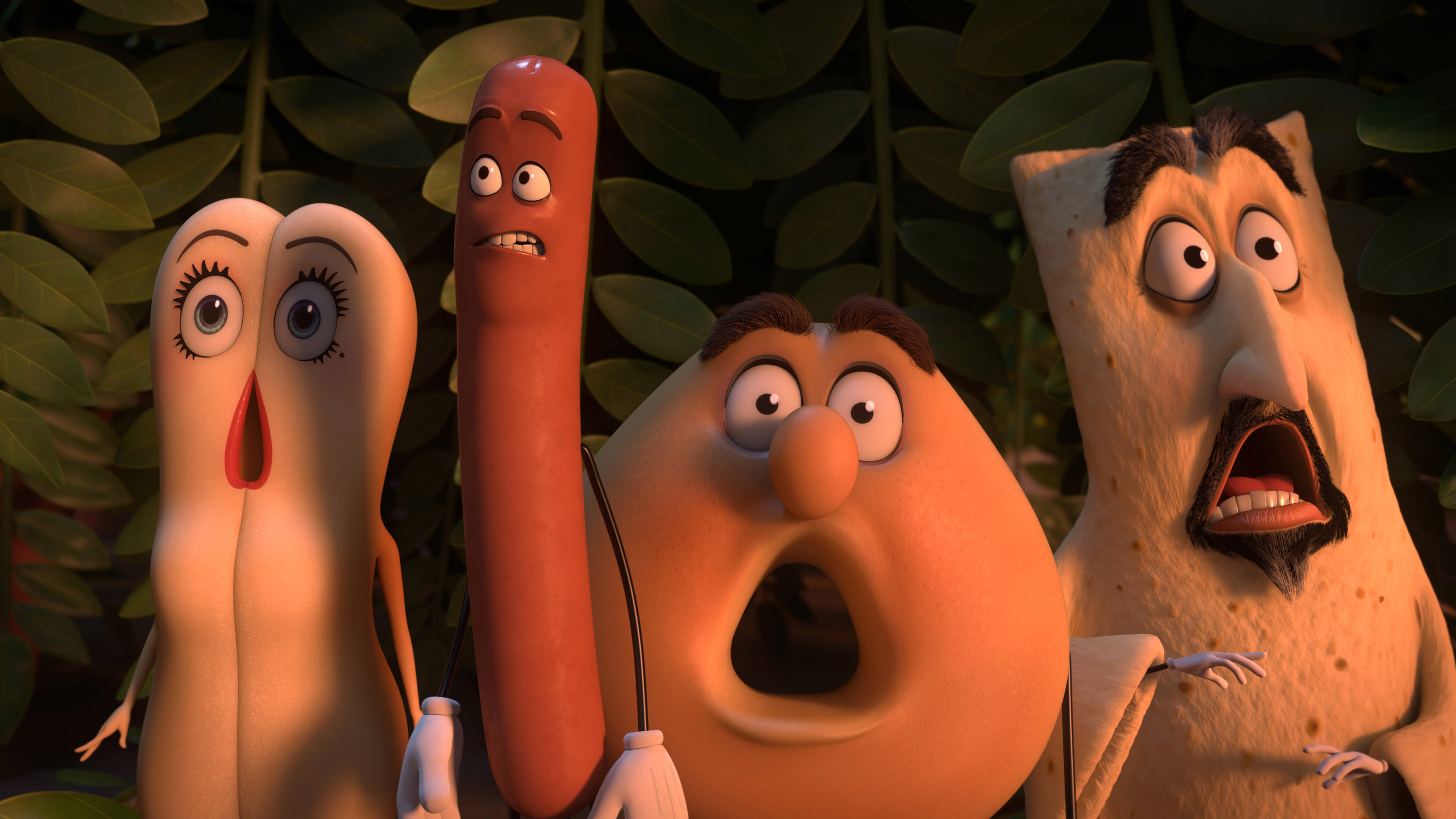 "Brenda (voiced by Kristen Wiig), Frank (voiced by Seth Rogen), Sammy Bagel Jr (voiced by Edward Norton), and Vash (voiced by David Krumholtz) looking shocked in ""Sausage Party"""