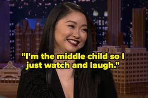 Lana Condor laughing and the words,