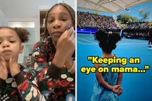 Serena and Olympia getting ready side by side with olympia watching serena with the caption