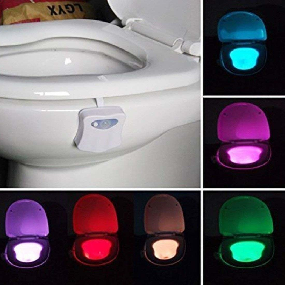 Various colours of the LED light.