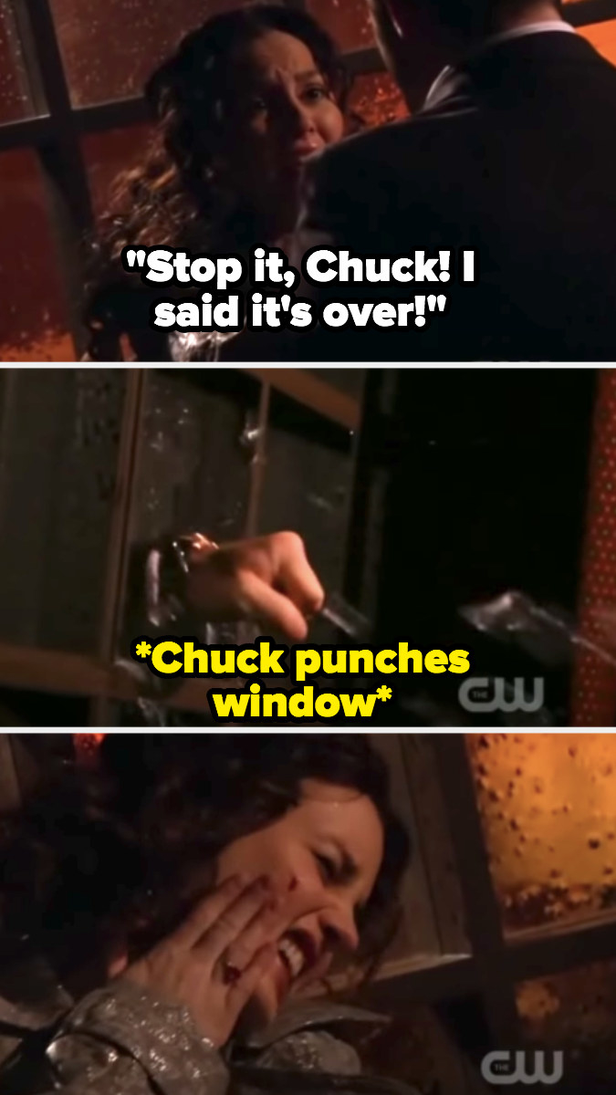 Chuck grabs Blair and punches glass window behind her