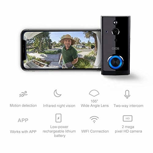 Video doorbell with a phone beside it showing who is at the door, and it's various features outlined below it.