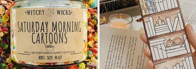 a saturday morning cartoons candle and a fill-in-yourself bookmark