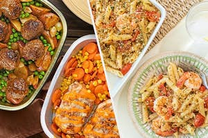 oven ready meals and a shrimp pasta