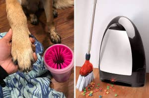 A reviewer cleaning their dog's paw and a black touchless vacuum