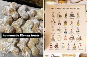 on left reviewer photo of Disney treats and on right a Wes Anderson alphabet poster