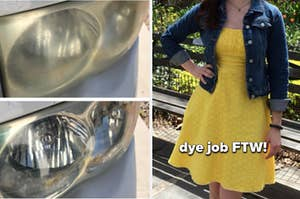 split thumbnail of cloudy headlight then clear after pic of the same headlight, person wearing a yellow dress they dyed