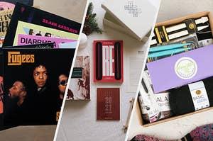 vinyl records, books, crochet hooks and yarn
