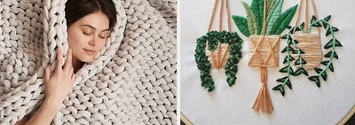 to the left: a model wrapped in a thick blanket, to the right: a plant embroidery