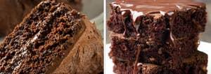Chocolate cake and brownies