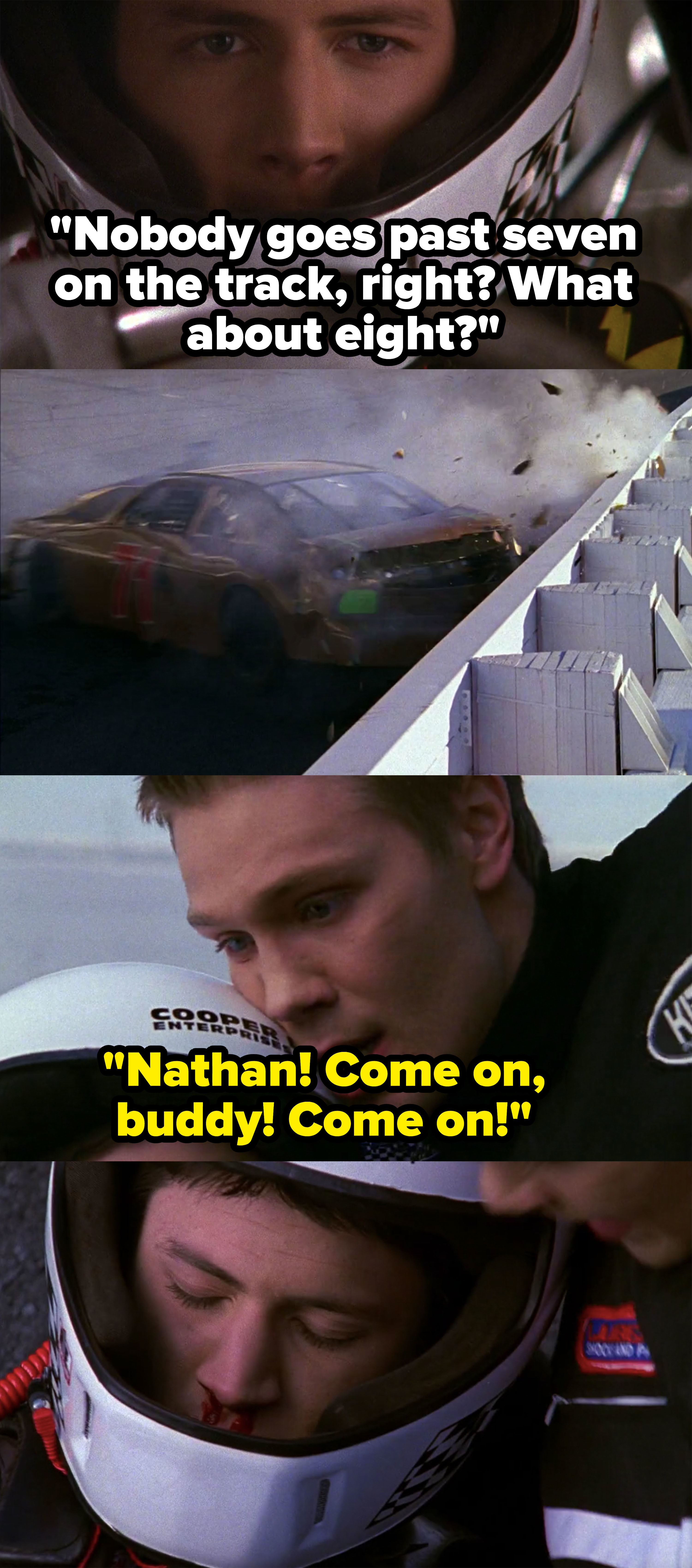 Nathan crashes race car and almost dies