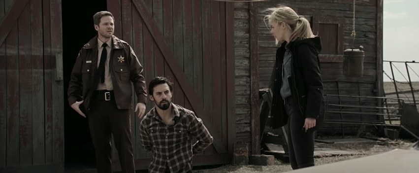 A cop, detective, and handcuffed man looking baffled